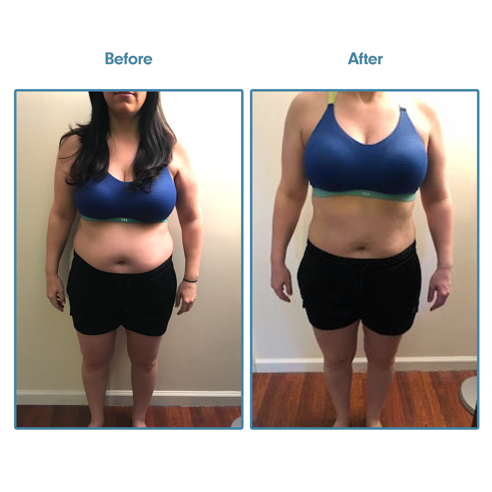 "Suzette - ""I'm so excited to see my transformation! It has been challenge with a busy work schedule and limited time, but I'm learned to make time for myself and focus on creating a better vision of me . Plus, I have more energy and confidence that I somehow lost over the past several years.Overall, I've lost 2 inches in my waist and have more defined arms and thighs. I'm up to 35 push-ups in 1 minute (and some of them are not on my knees!).I know the program is done, but I plan to start another round of the program this week! Seeing what I can accomplish after the first round makes me wants to see what 24 weeks would look like."""