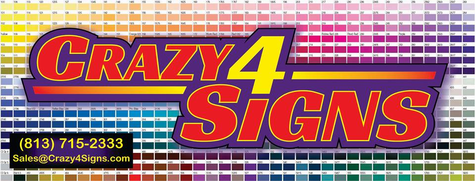 Crazy 4 Signs    Address: 37041 SR 54 Zephyrhills  Email: sales@crazy4signs.com  Telephone: 813-715-2333   Website    Facebook