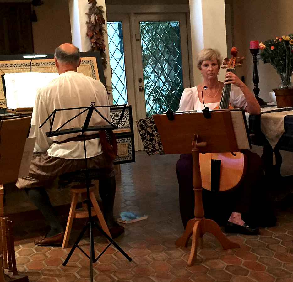 Pete accompanying Marcy at September 2016 soirée in St. Augustine.