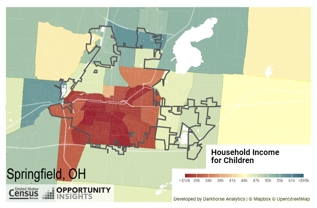 Opportunity Atlas map for Springfield, OH estimates the projected household income for children today by their census tract of residence