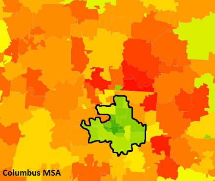 Outlined area captures 23 zip codes within Columbus municipal boundaries