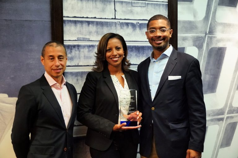 From L-R: Jair Lynch, President of LOCUS, Angela Mingo, Community Relations Director at Nationwide Children's Hospital, Christopher Coes, Director of LOCUS. Ms. Mingo accepts the 2019 Richard Baron Affordable Housing Award on behalf of Nationwide Children's Hospital and Community Development for All People.