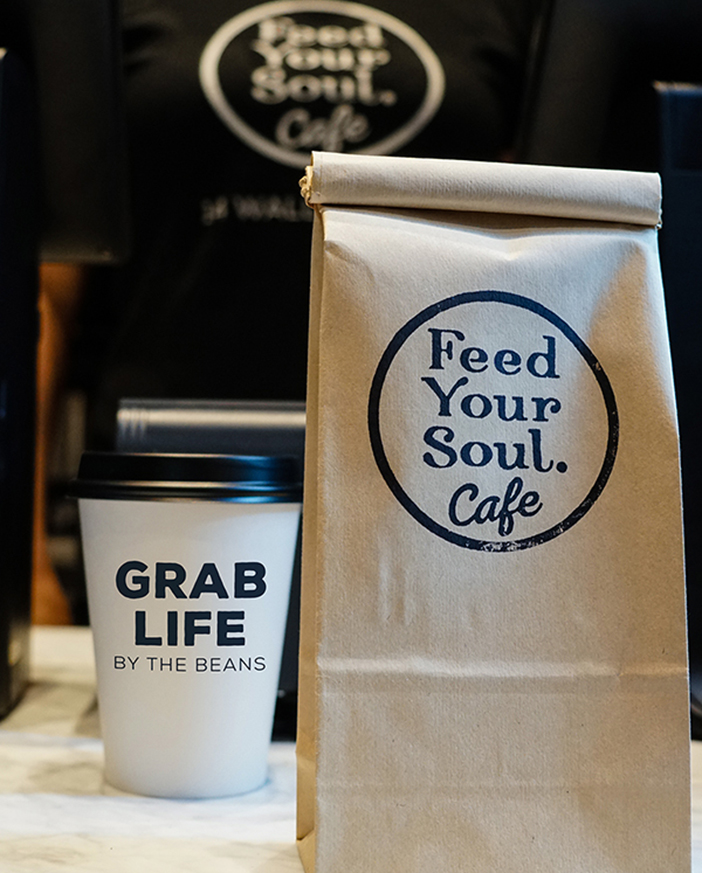 "Feed Your Soul Cafe's ""Grab Life by the Beans"" Coffee Cup"
