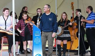 MSU President Dr. Wayne Andrews usually joins the traditional music group for a song or two during the festival.