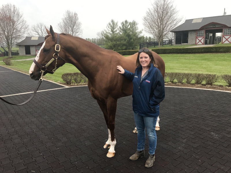 Now a prominent fixture in the Thoroughbred industry, Carrie Gilbert grew up a track rat in Fairport, N.Y., before moving to the Horse Capital of the World and immersing herself in all things equine. She is pictured here with California Chrome.