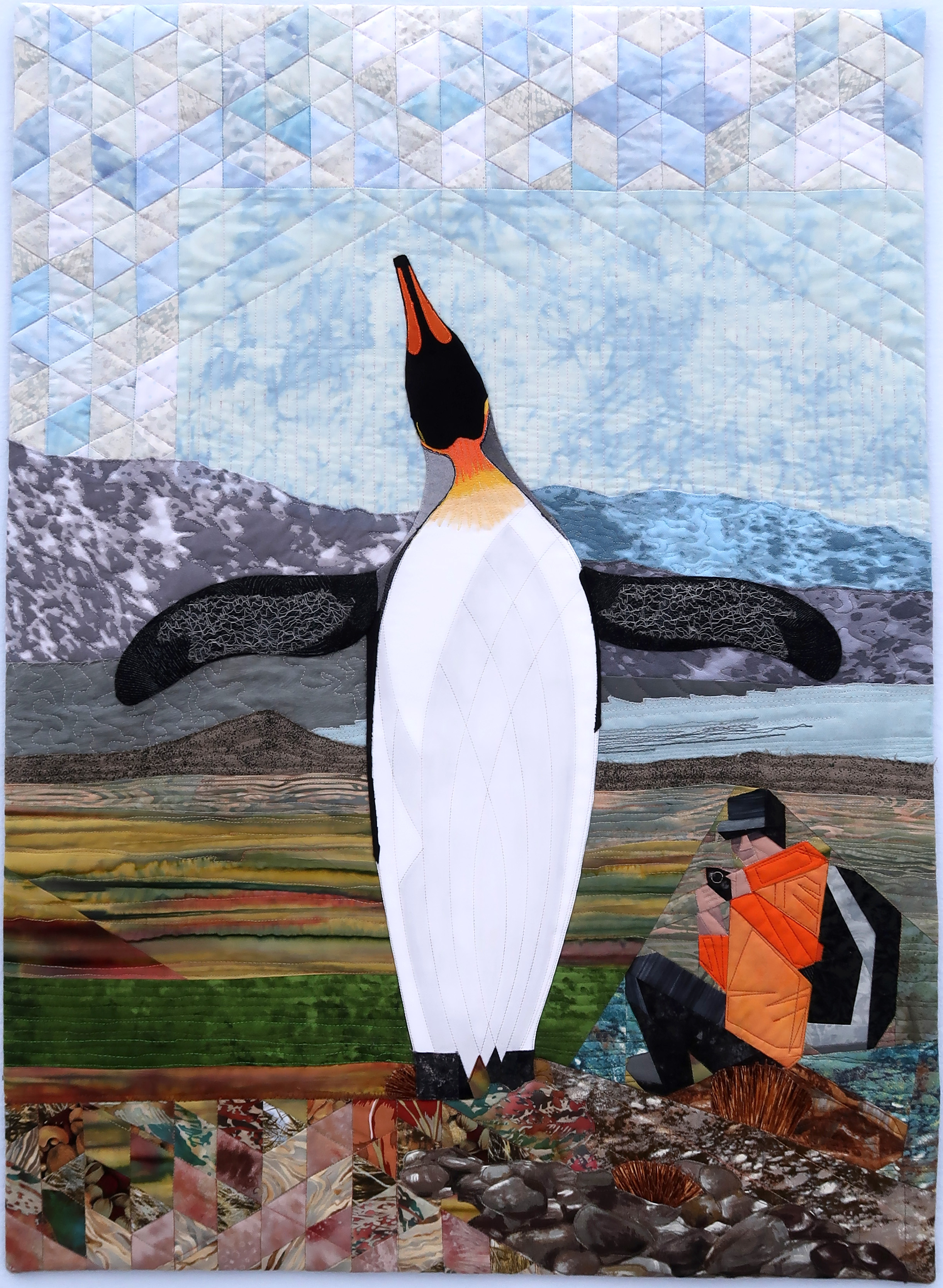 """Antarctic Ululation - 23"""" x 32"""" - Feb 2018Private Collection - Calgary, ABSometimes we're lucky enough to observe great moments in nature. In this instant, self and subject are one. Awareness that the air beneath your wings is the same air that trills in my throat. I see you - I am here!"""