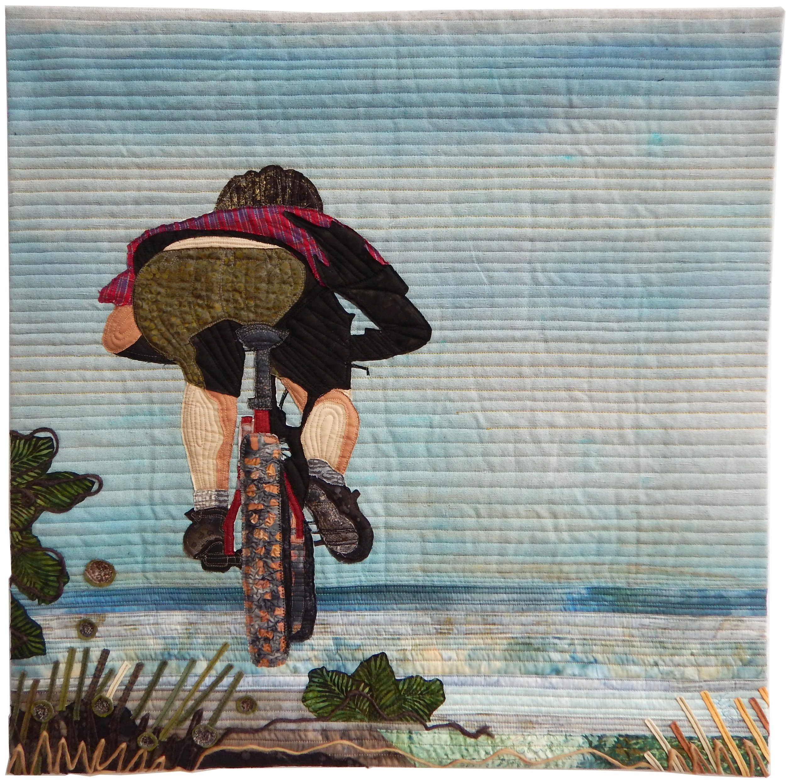 """Ride like the wind - 30"""" x 30""""I draw my inspiration from many memorable hours spent riding beautiful roads and trails at many places in the world on my mountain bike. I can vividly recall the pure thrill of adventure - from climbing treacherous, rocky stump-strewn trails to being rewarded with gorgeous panoramic views from mountain tops. I try to live my life with the road trip metaphor - always plan something that keeps you looking ahead and anxious to see what's just over the next rise. And enjoy the ride!"""
