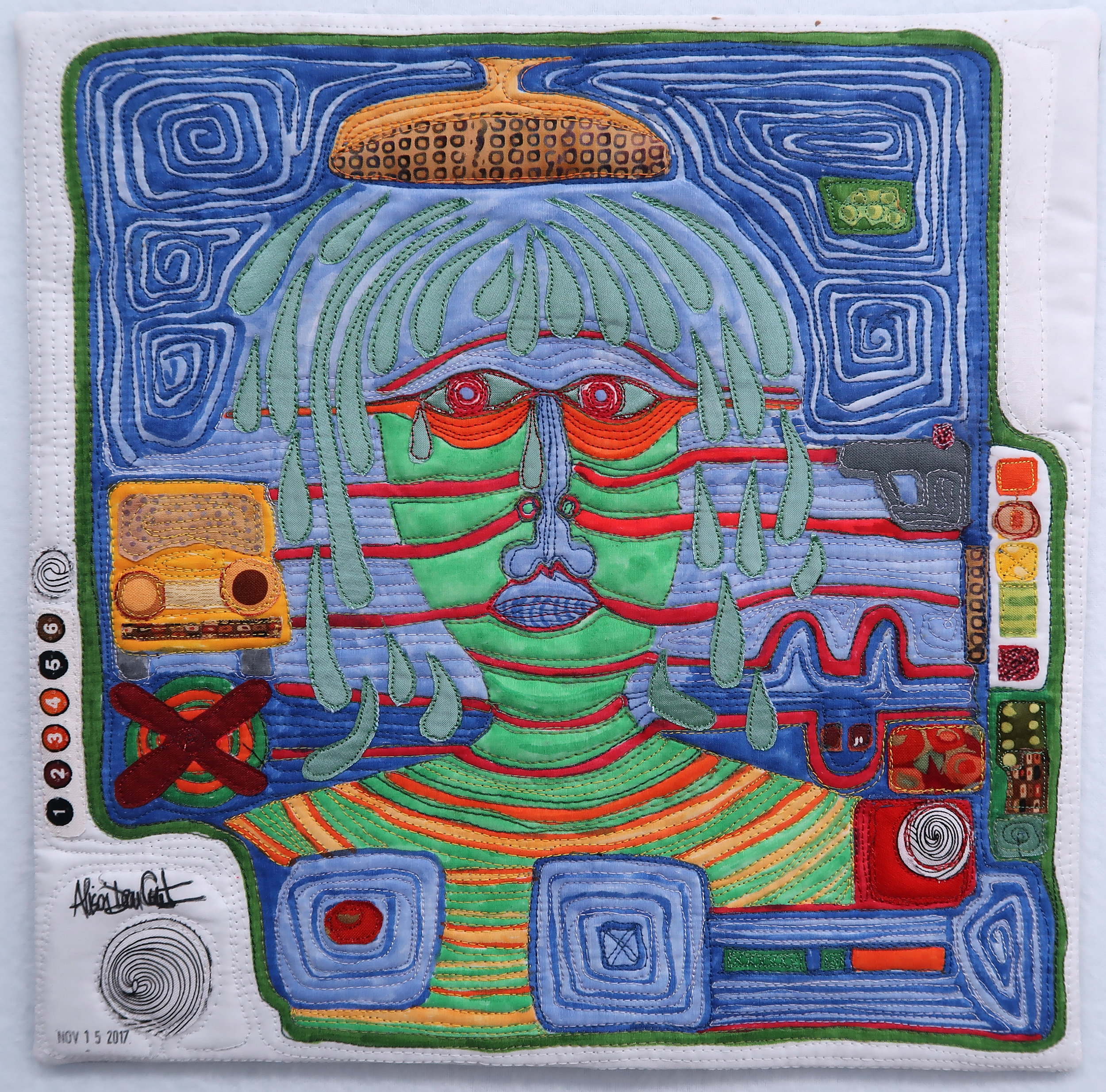 """Dying into now - 12"""" x 12"""" - 2018Influenced by the Austrian artist, Hundertwasser, I stood in the shower one day and thought about slowing down in my rushed life. I let the water wash over me and I realized that I can finish my shower and get on with life. I let worry and anxiety wash over my head and naked body, and afterwards I started to doodle what that would look like, in my Hundertwasser way."""