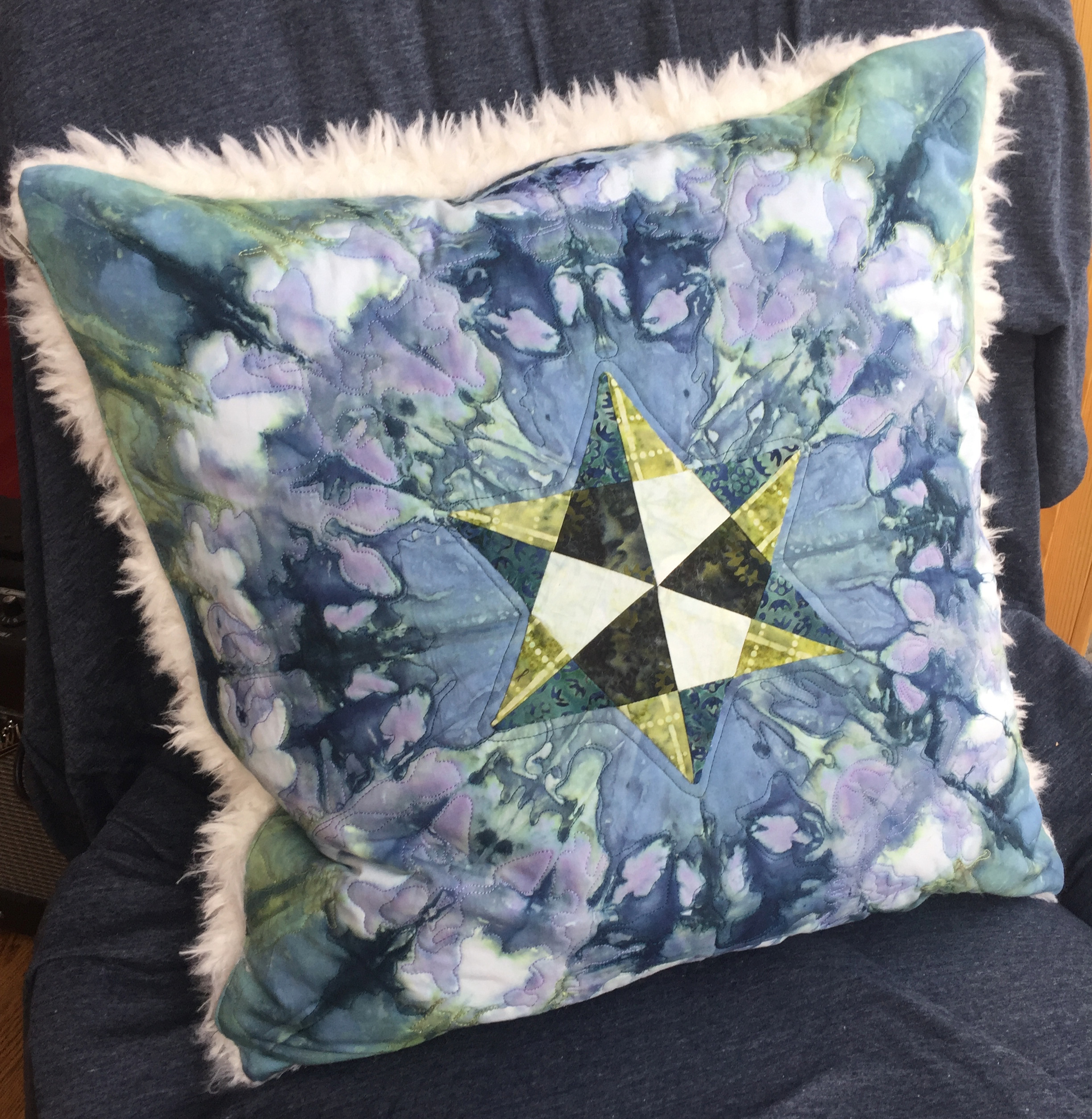 Pillow - One example of what you can do with fabric dyed with snow. I am available to teach this as a class or create a commission set of art pillows.Contact Alison to learn more.