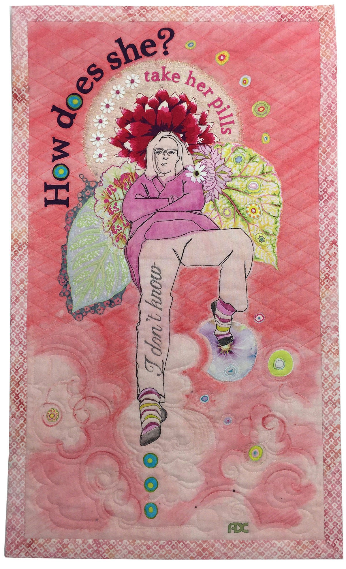 """How does she? - 20"""" x 34"""" - June 2019This young registered nurse cares. She is confident, knowledgeable, serious and hard working. She's my beautifully-quirky daughter, Hayley Rianne.This art piece began with a sketch inspired during a conversation we had after her shift in long term care. The sketch evolved into a fun, humorous portrait of Hayley. She is to me, as she is to countless others who receive her care, a magical angel with endearing attitude.Yes… she does !"""