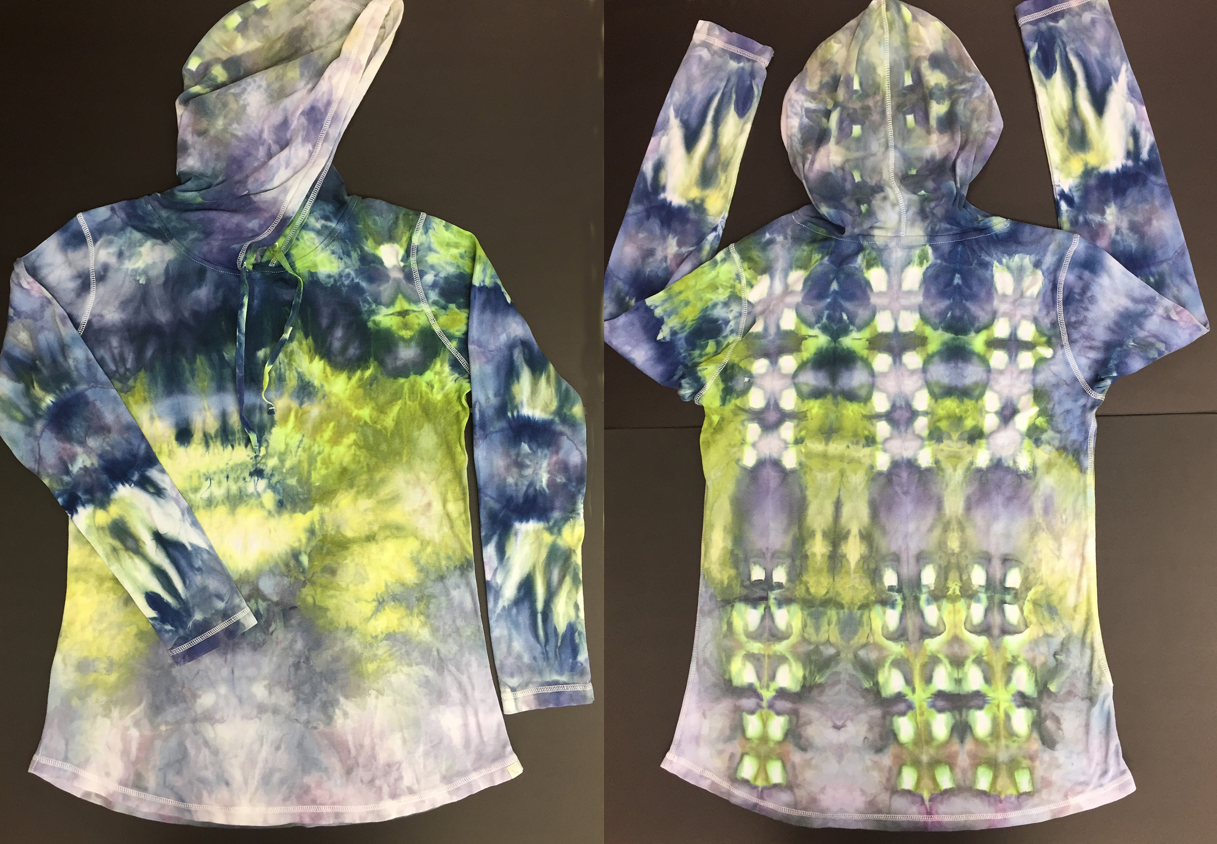 snow dyed hoodie - 2019I can teach you and your friends how to make your own snow dyed wearable art. Or soon you can purchase one and make it yours.My on-line store coming soon. Contact Alison to learn more.