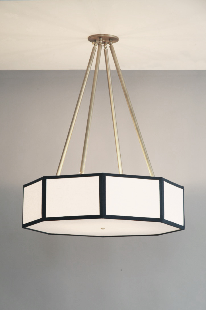 Hexagon + Octagon_C-205_Octagin Lantern Pendant with Four Tapered Stems_Satin Brass_ White and Navy_on.jpg