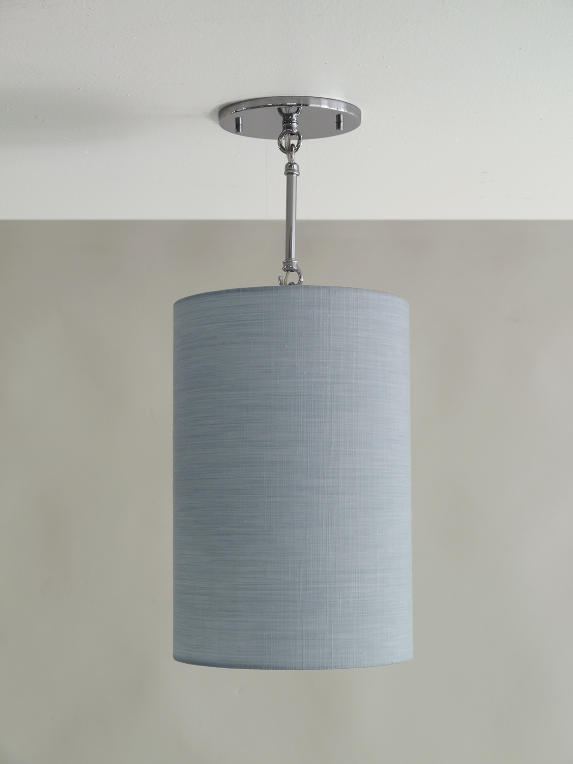 Drums and Boxes_C-153_Cylinder Pendant with Stem and Loops_Satin Nickel_Blue.jpg