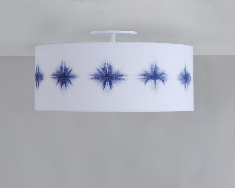 Shibori_C-223_Starburst Wafer Ceiling Fixture_White_Navy.jpg