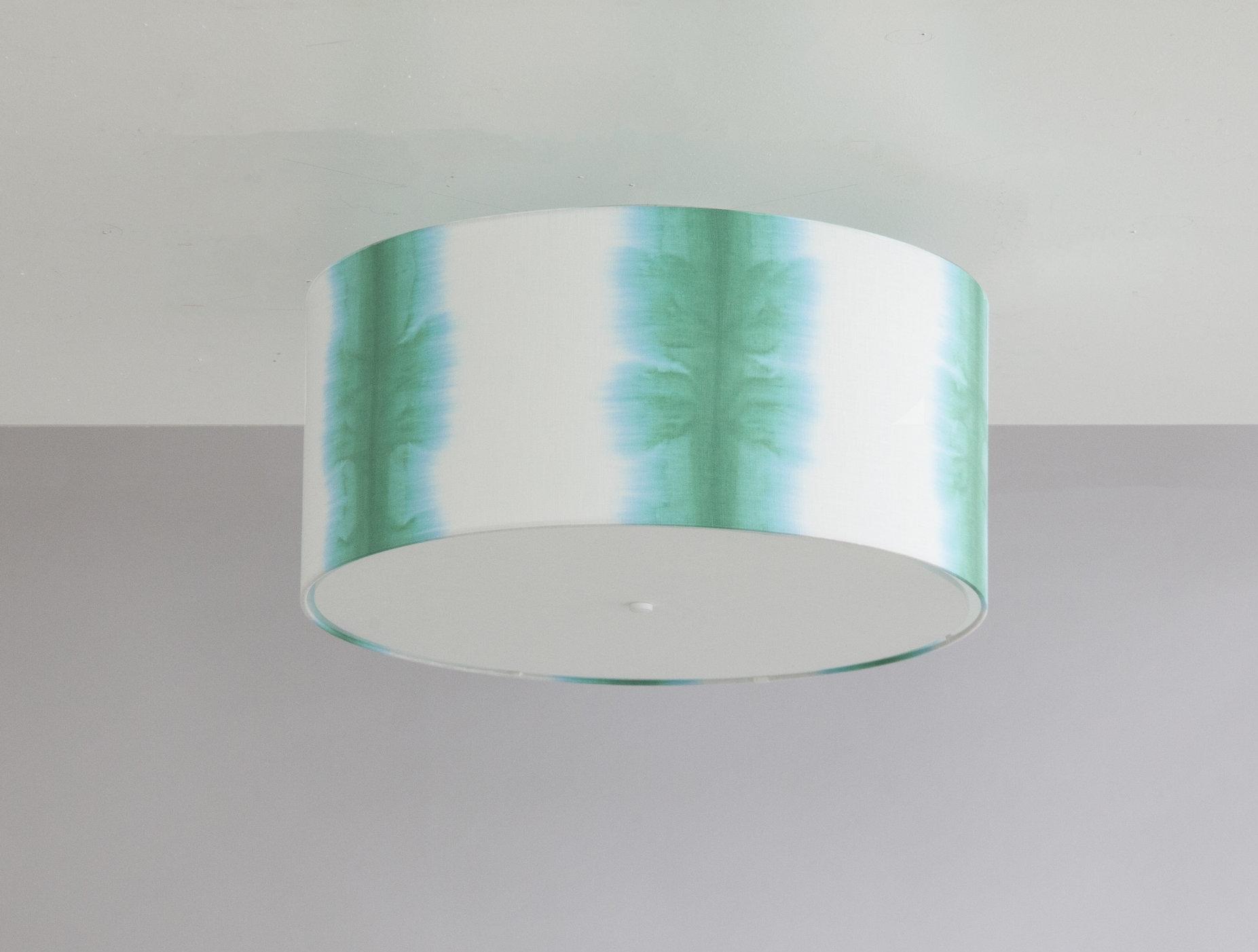 Bone Simple Design_Shibori Vertical Stripe Drum Ceiling Fixture_Emerald Green.jpg