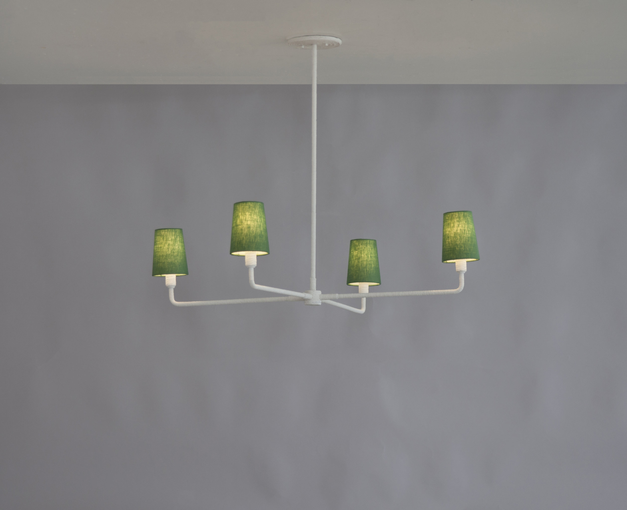 Single Tiered Rope Chandelier - Green Shades LIT1.jpg
