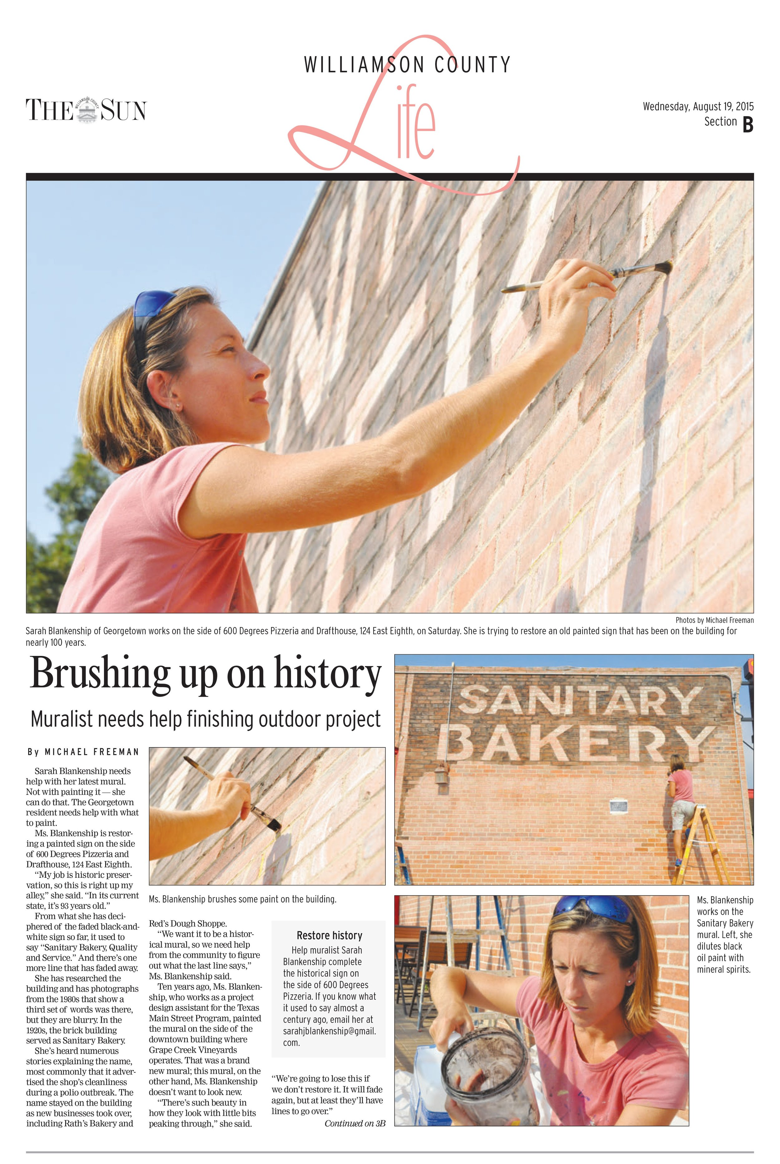 Newspaper feature on the ghost sign and call to the community for more information on missing information