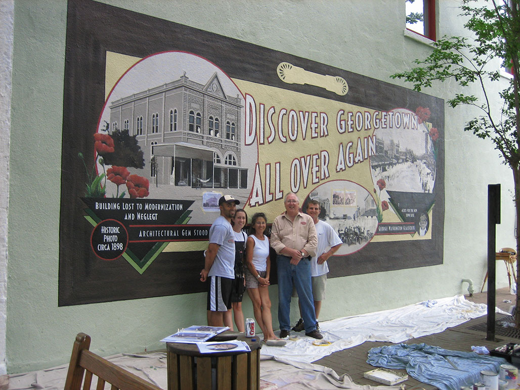 Mural on Georgetown square, part of Georgetown's Main Street Program