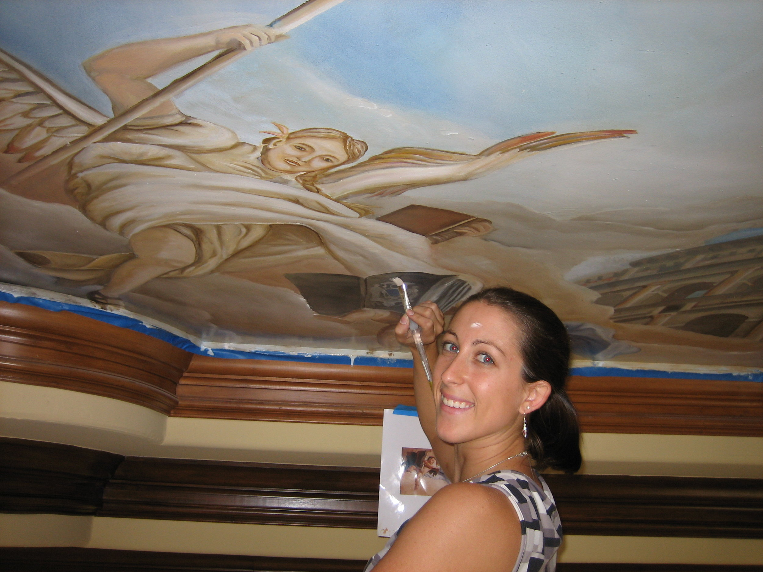 A ceiling mural with  In Your Space