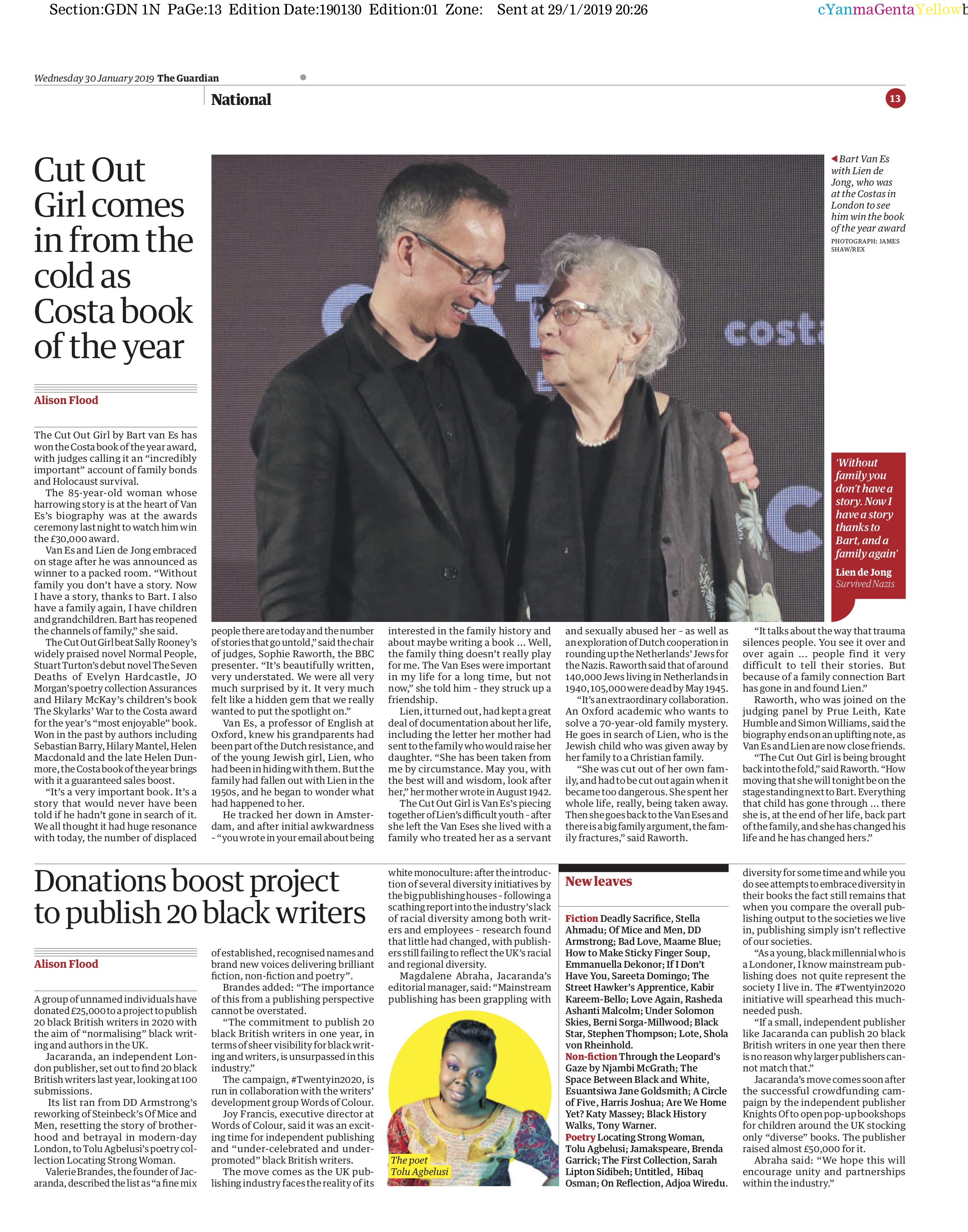 Costa Book of The Year Awards / Guardian