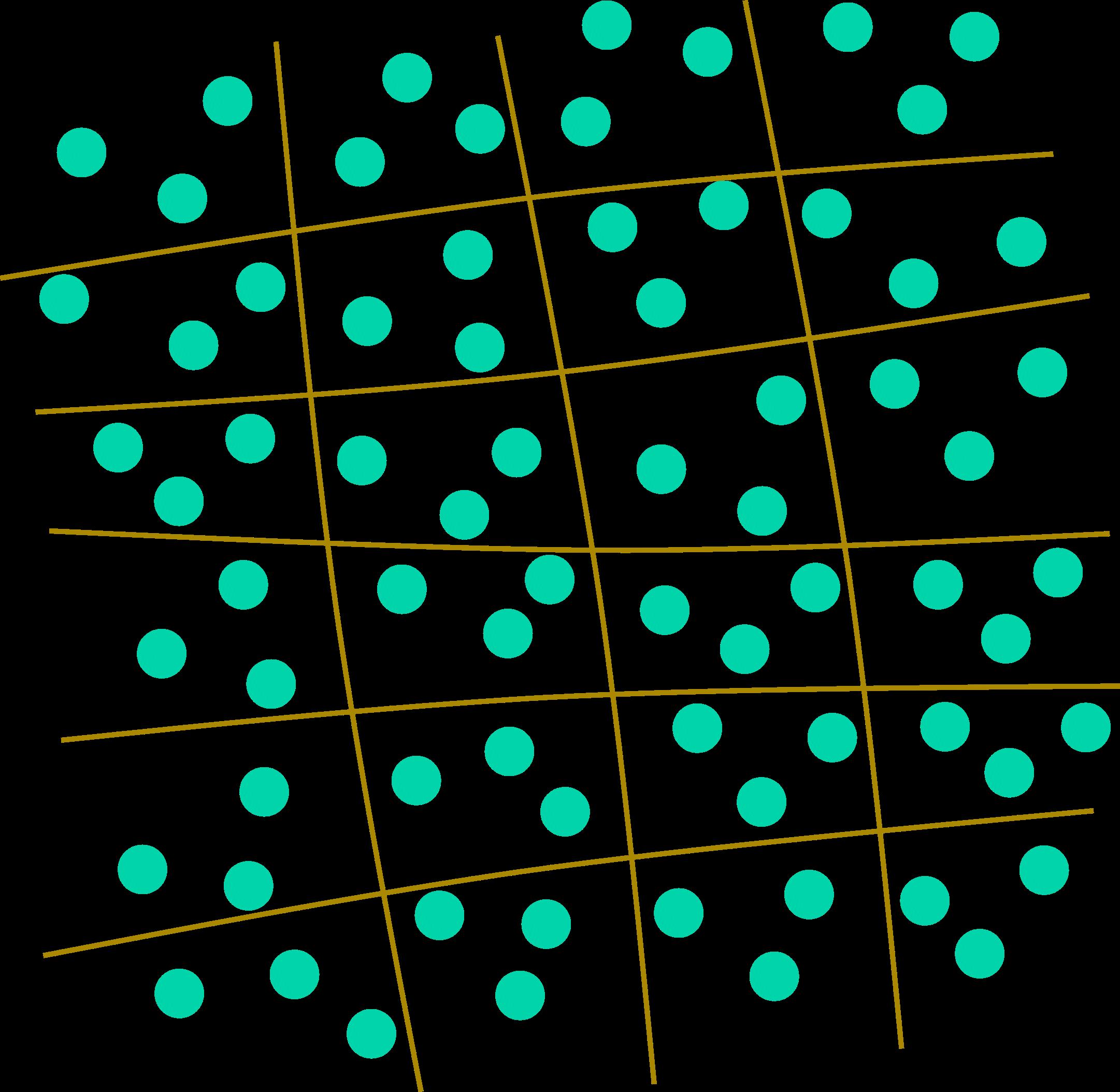 Rappresentazione grafica della rete di un gel. Le palline azzurre sono molecole d'acqua intrappolate.