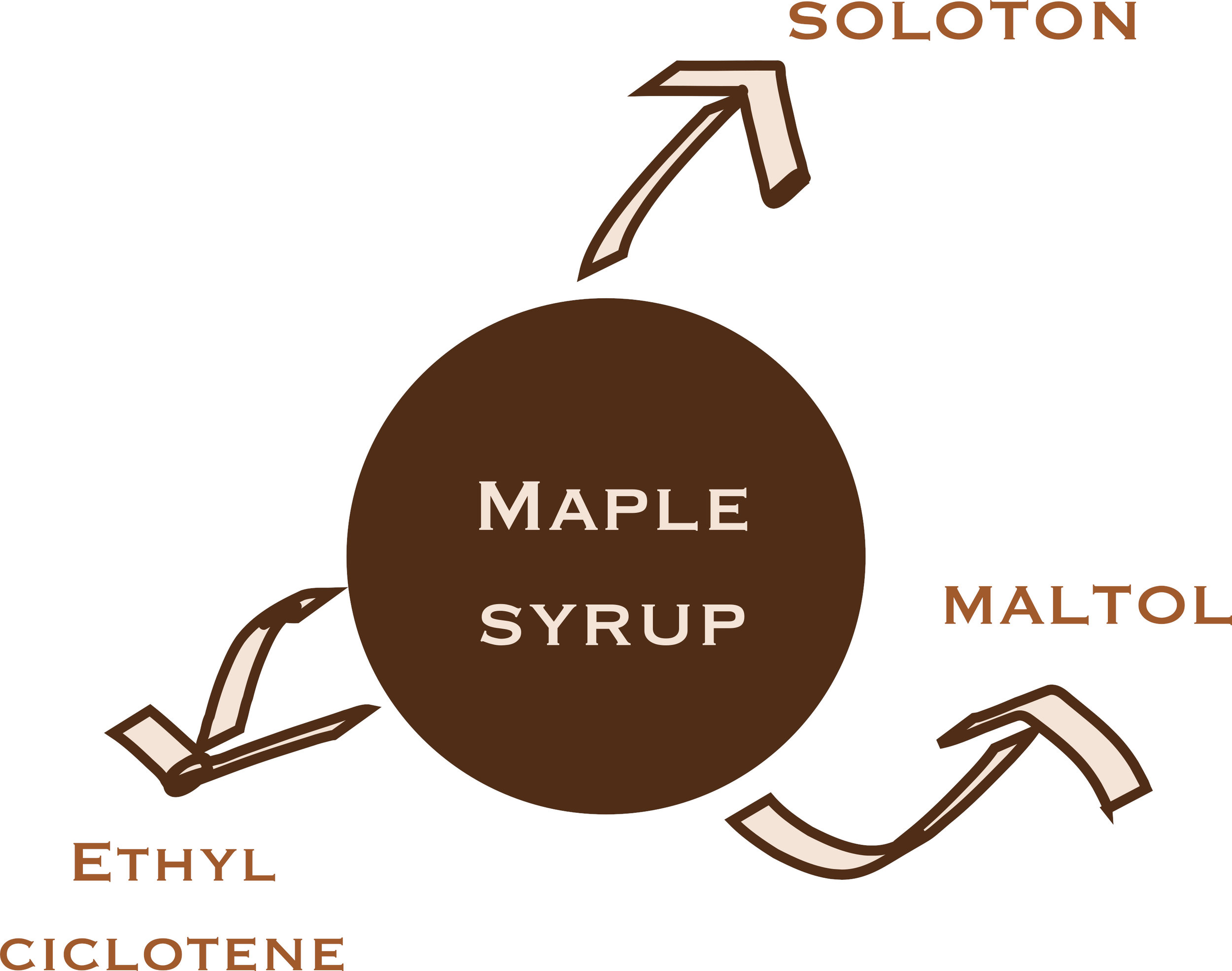 A few molecules belonging to the aromatic bouquet of maple syrup