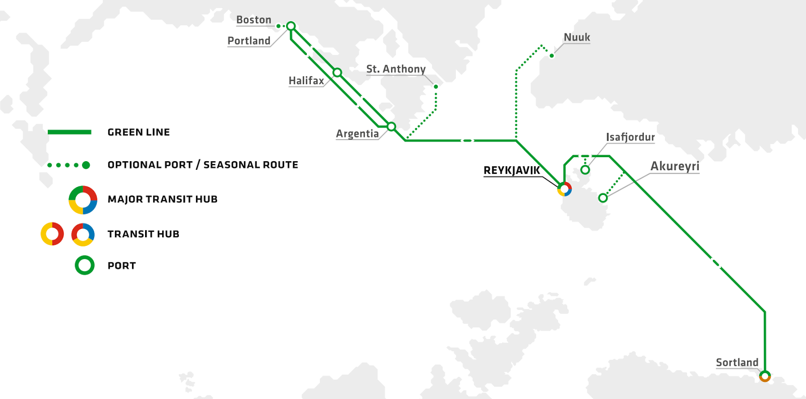 MAP: Eimskip's Green Line shipping route connects Maine to Iceland in just nine days.
