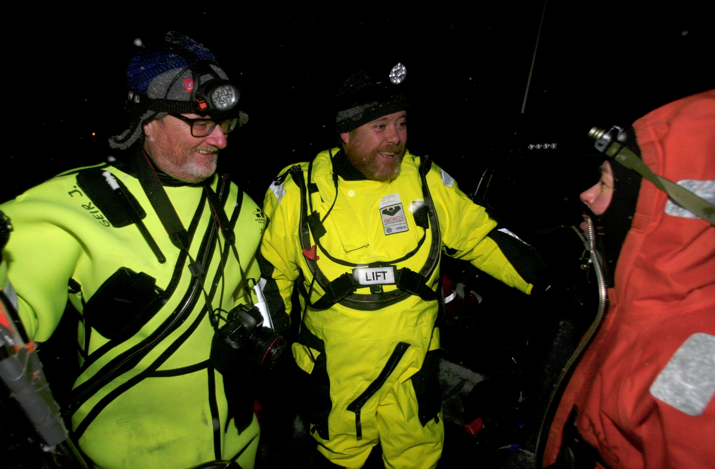 Maarja Krussmaa (right) from Estonia is a professor of robot technology and collaborates closely with biology professors Geir Johnsen and Jørgen Berge to discover all the life forms that are active in the ocean during the polar night. Photo: Ole Magnus Rapp