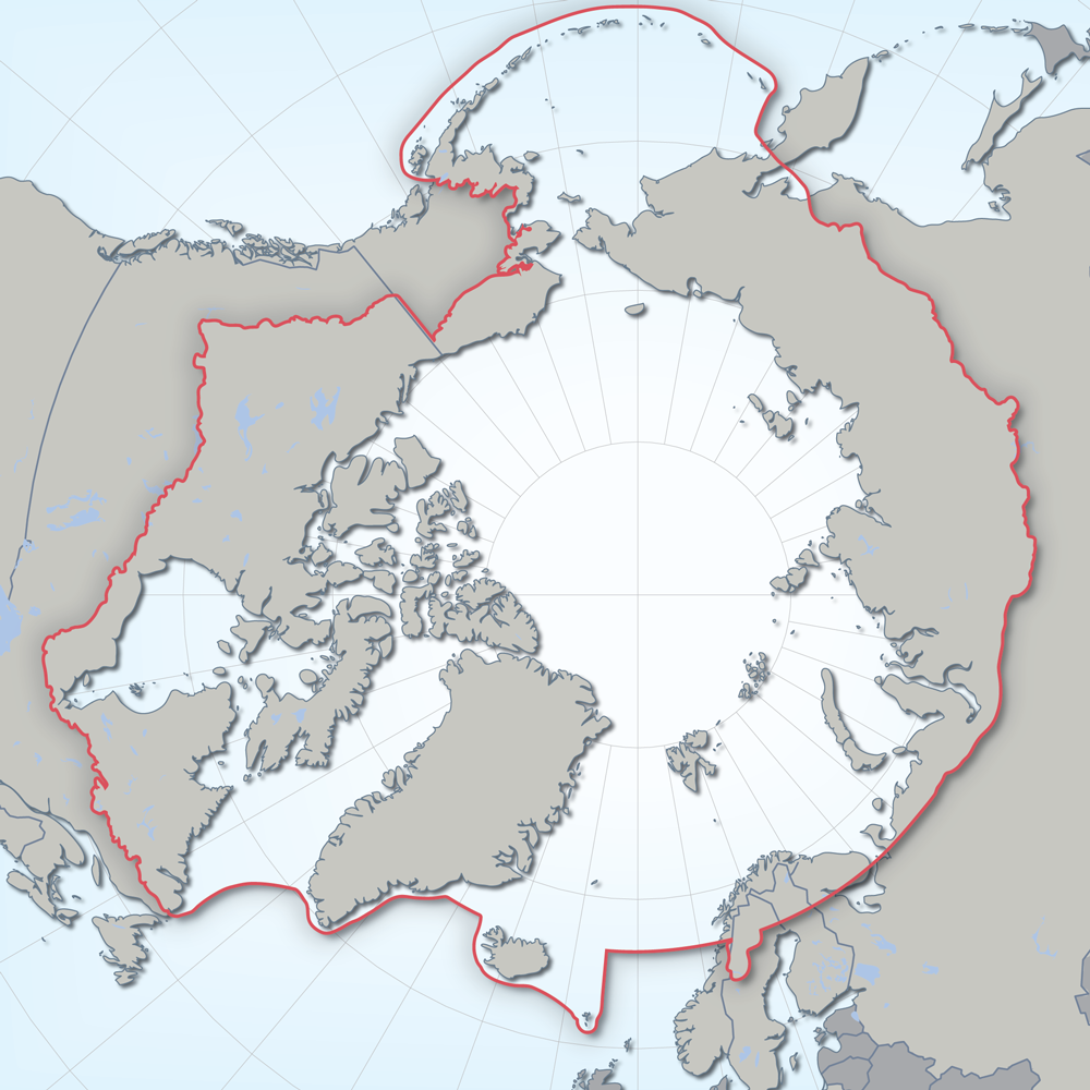 Polar projection showing the geographic boundary of CAFFs work.