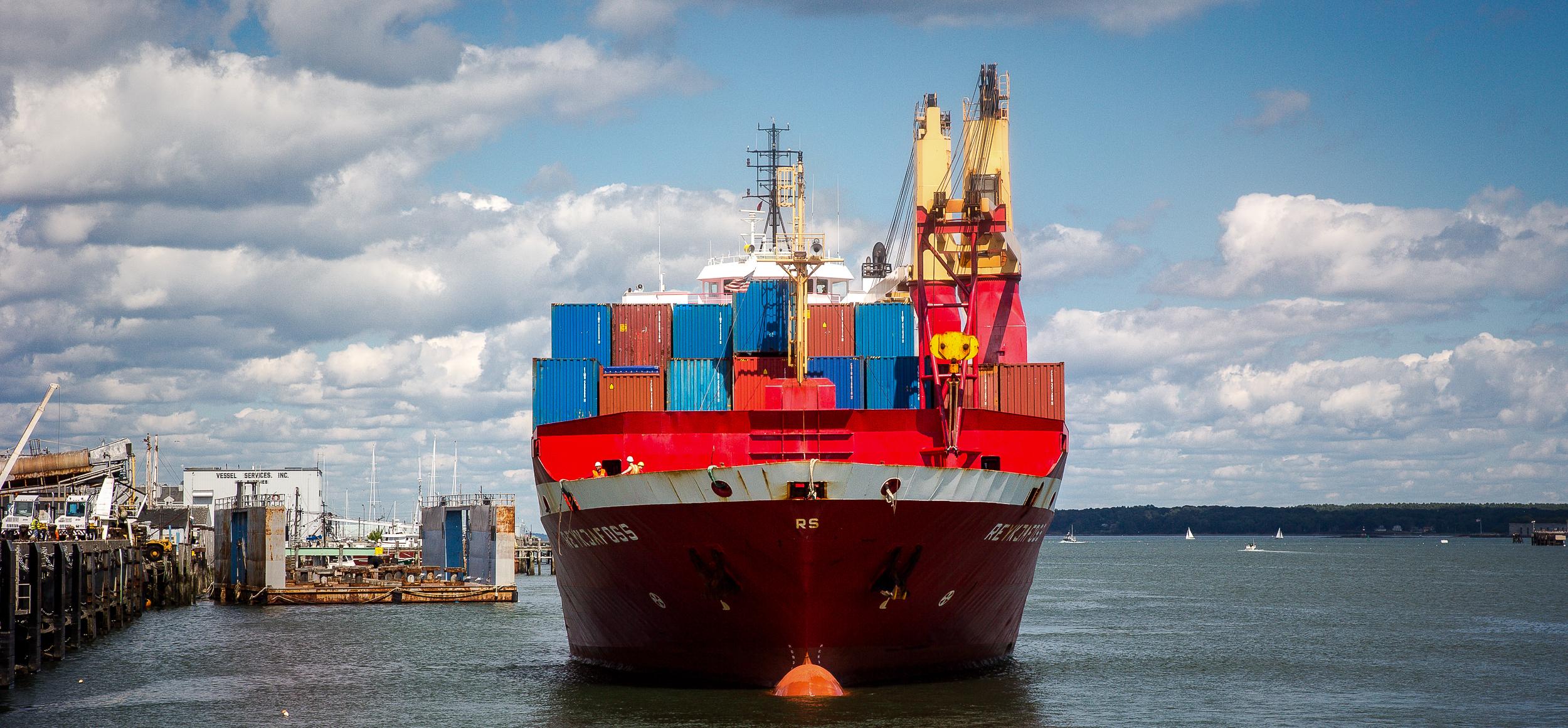 Eimskip freight ship in Portland's harbour. JONAA©Justin Levesque