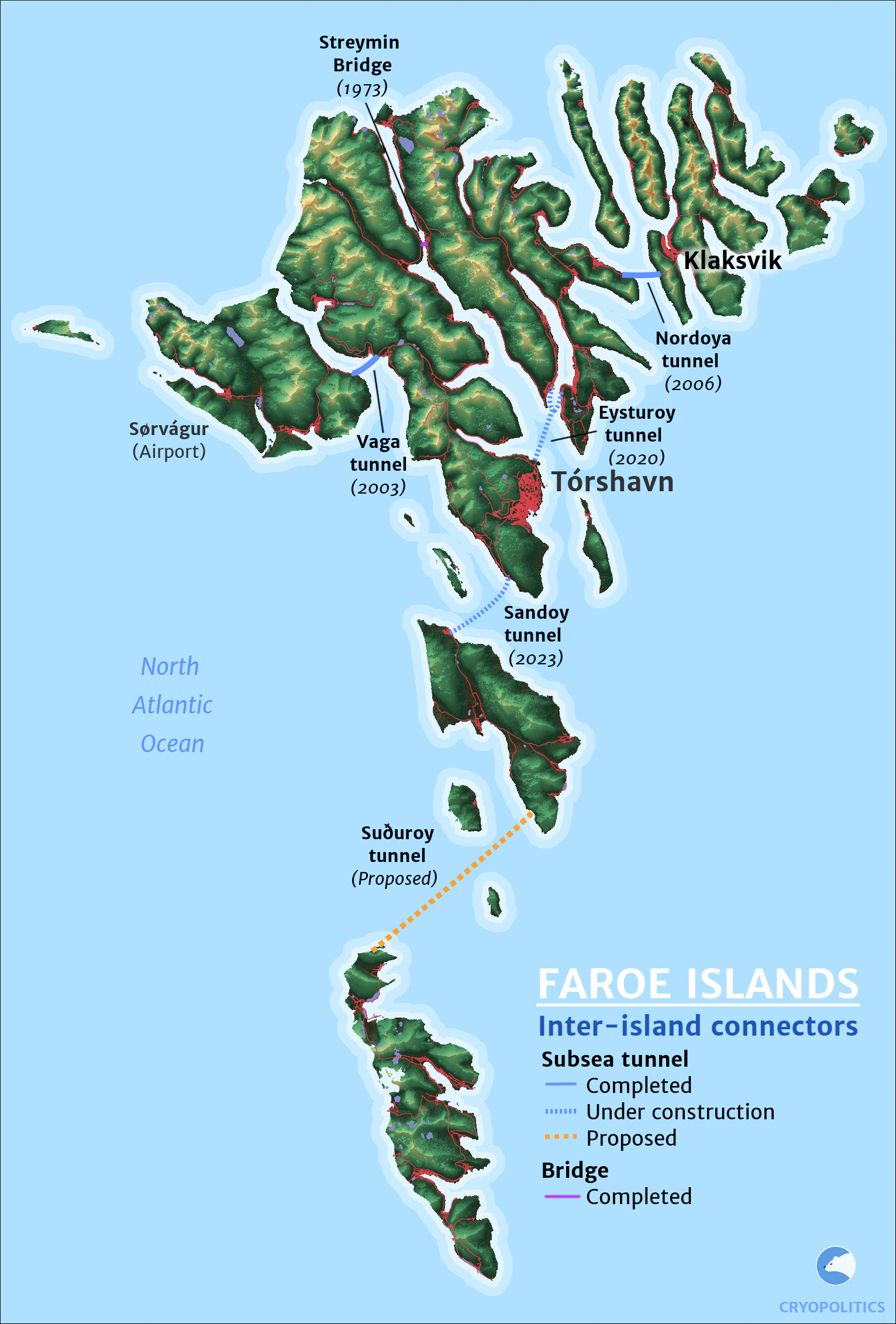 A map of bridges and subsea tunnels in the Faroes. Map by ©Cryopolitics.