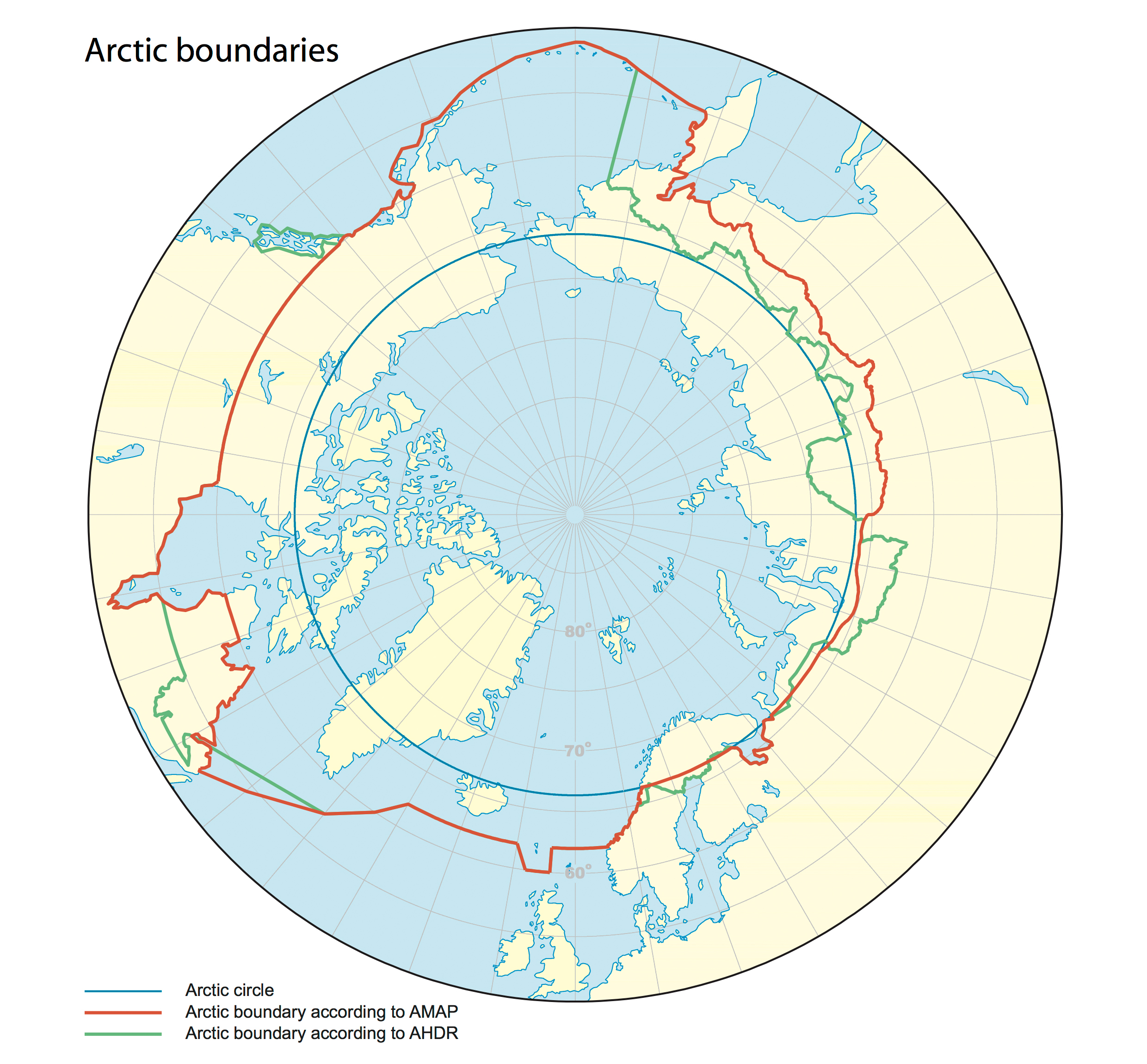 Boundaries circling the Arctic Ocean and the North Pole. Map compiled by  Winfried K. Dallmann / Norwegian Polar Institute. Published with permission from the Arctic Council.