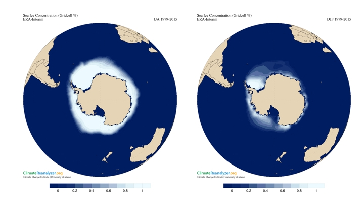 Figure 2: Antarctic sea ice concentration (Gridcell %) using ERA-Interim climate data for the period 1979-2015 (left JJA), right (DJF).