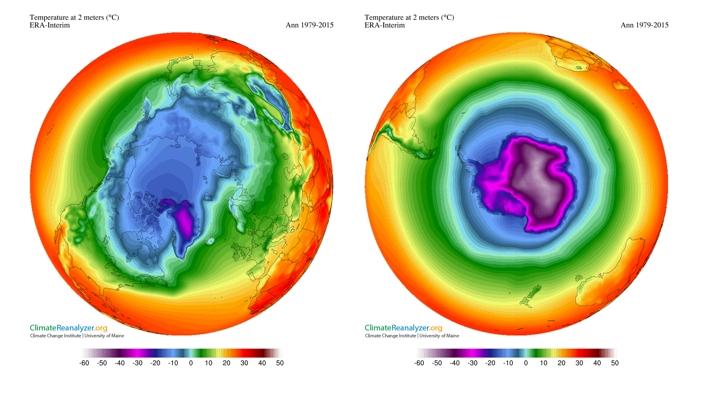 Figure 3: Temperature at 2m above the surface (annual oC) using ERA-Interim climate data for the period 1979-2015 (left Arctic), right (Antarctic).