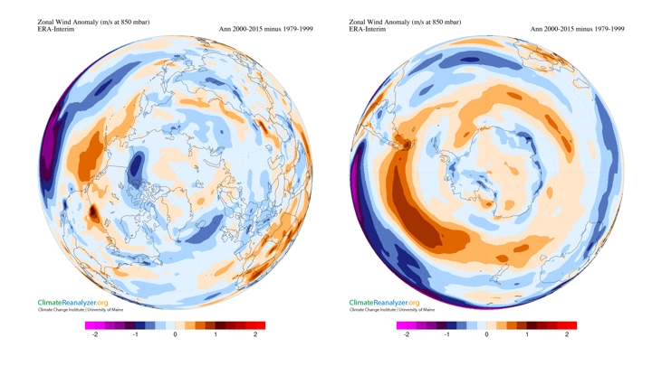 Figure 6: Zonal wind anomaly (m/s at 850 mbar) using ERA-Interim climate data, plotted using Climate ReanalyzerTM for the period 2000-2015 minus 1979-1999 (left Arctic), right (Antarctic).
