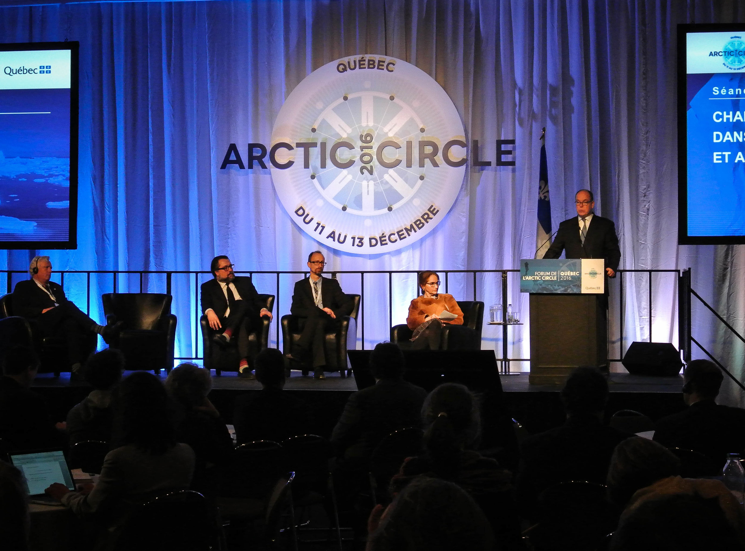 Prince Albert ll of Monaco speaking at an Arctic Circle Forum in Quebec, Canada in 2016. JONAA©Vilborg Einarsdottir