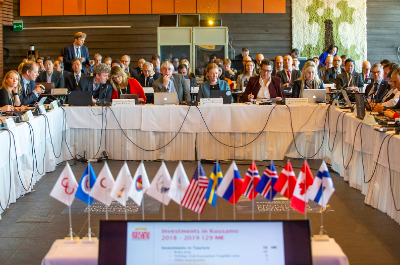 A picture from a Senior Officials meeting March 2019 in Ruka, Kuusamo, Finland. Flags in front of the countries that make up the Arctic Council and the indigenous organizations that have Permanent Participant status. Photo: Ministry for Foreign Affairs of Finland/Kaisa Sirén.