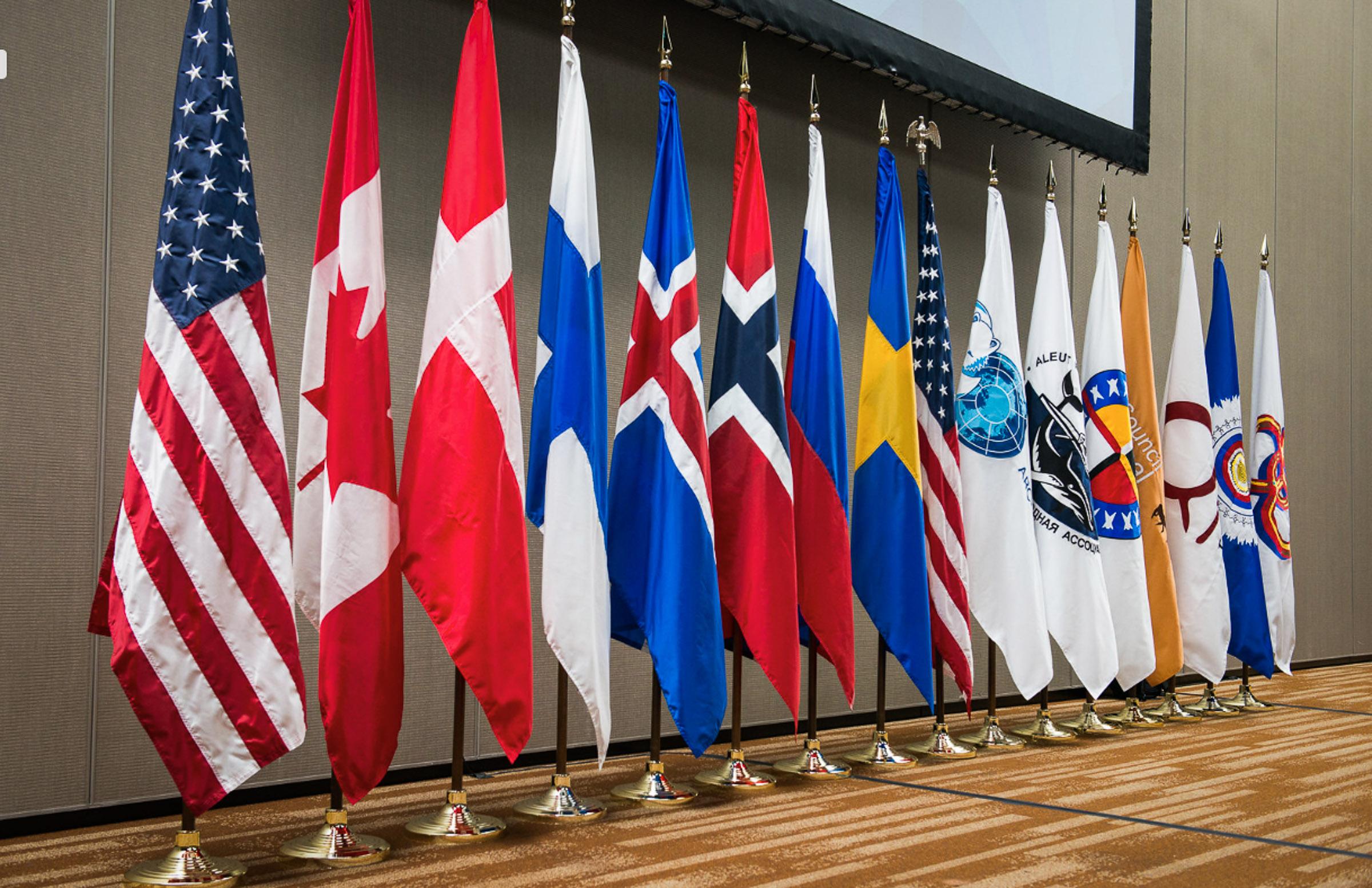 Flags of the Arctic Council countries and the indigenous organizations that are Permanent Participants.  JONAA©Arctic Council Secretariat / Linnea Nordström