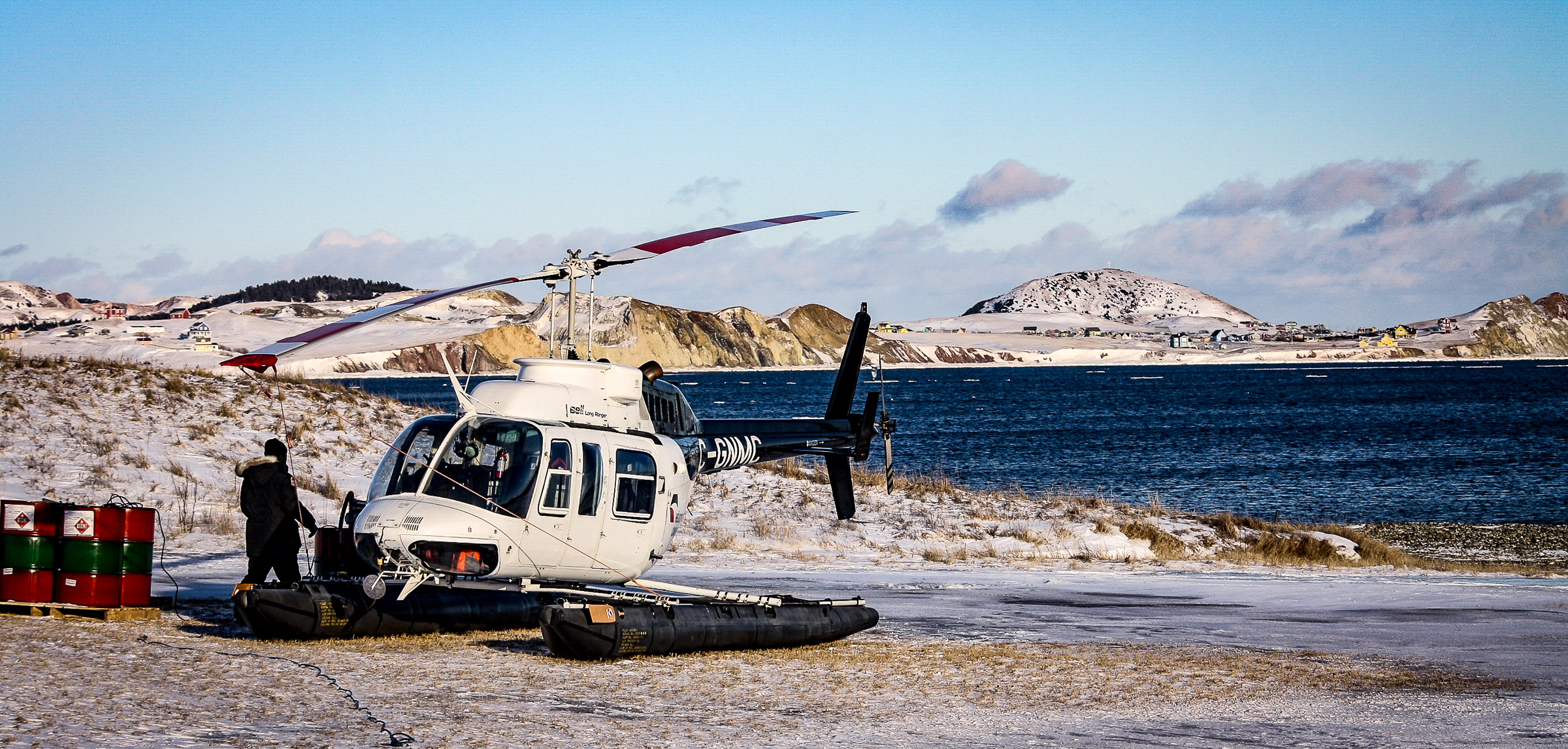 Les Îles-de-la-Madeleine is one of the few places in the world that can accommodate seal-tourism. During that short winter season, helicopters dispatch for excursions several times a day from a beachfront in view of the island's small community. JONAA©Andrea King