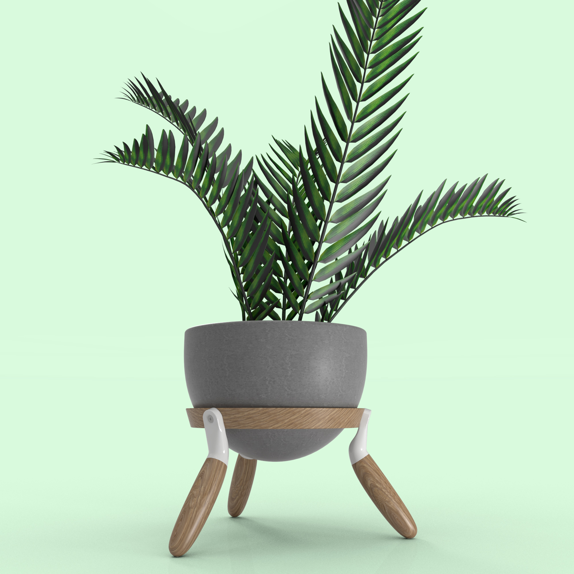 Planter made with wood and concrete