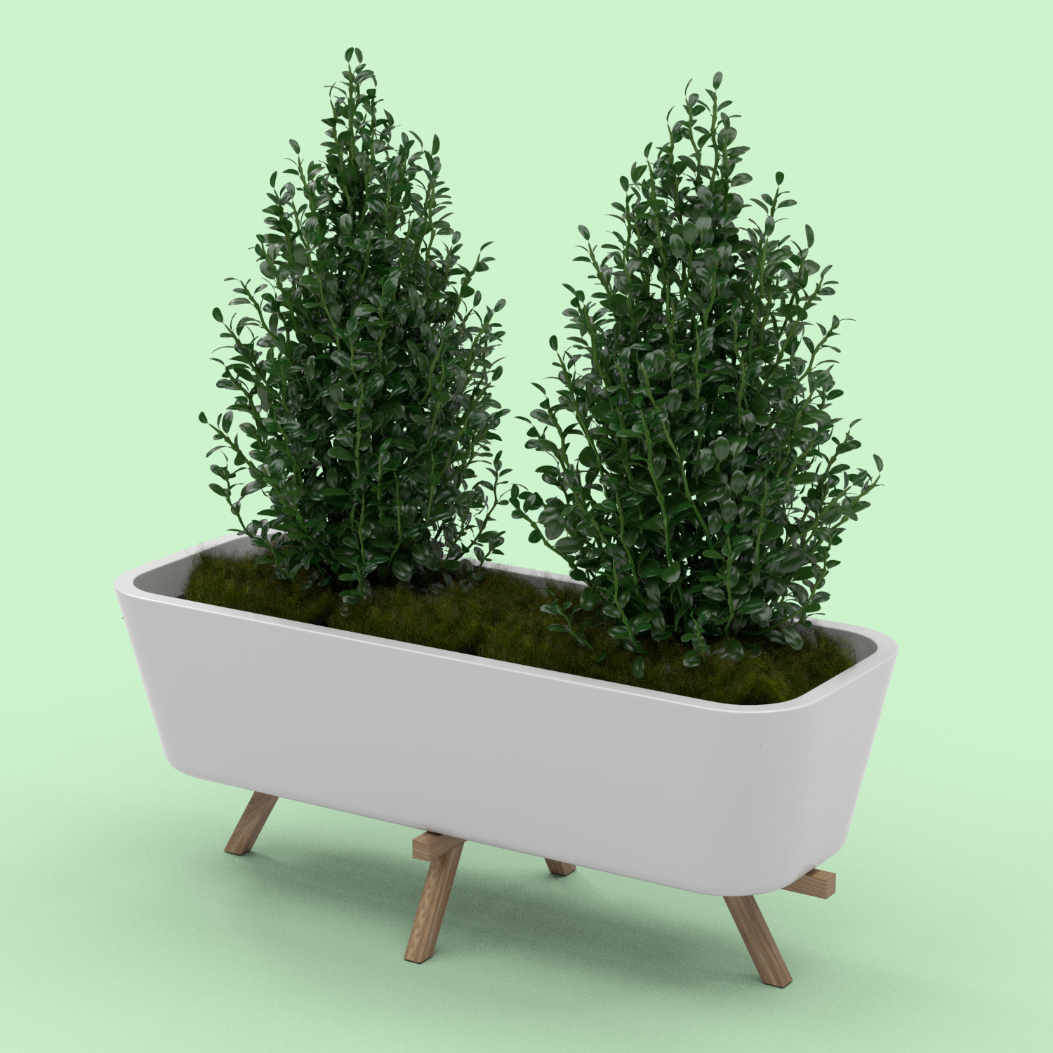 Planter made with white ceramic and wooden legs