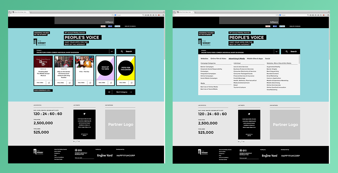 The bold design used on the main site was used to update the People's Voice platform.