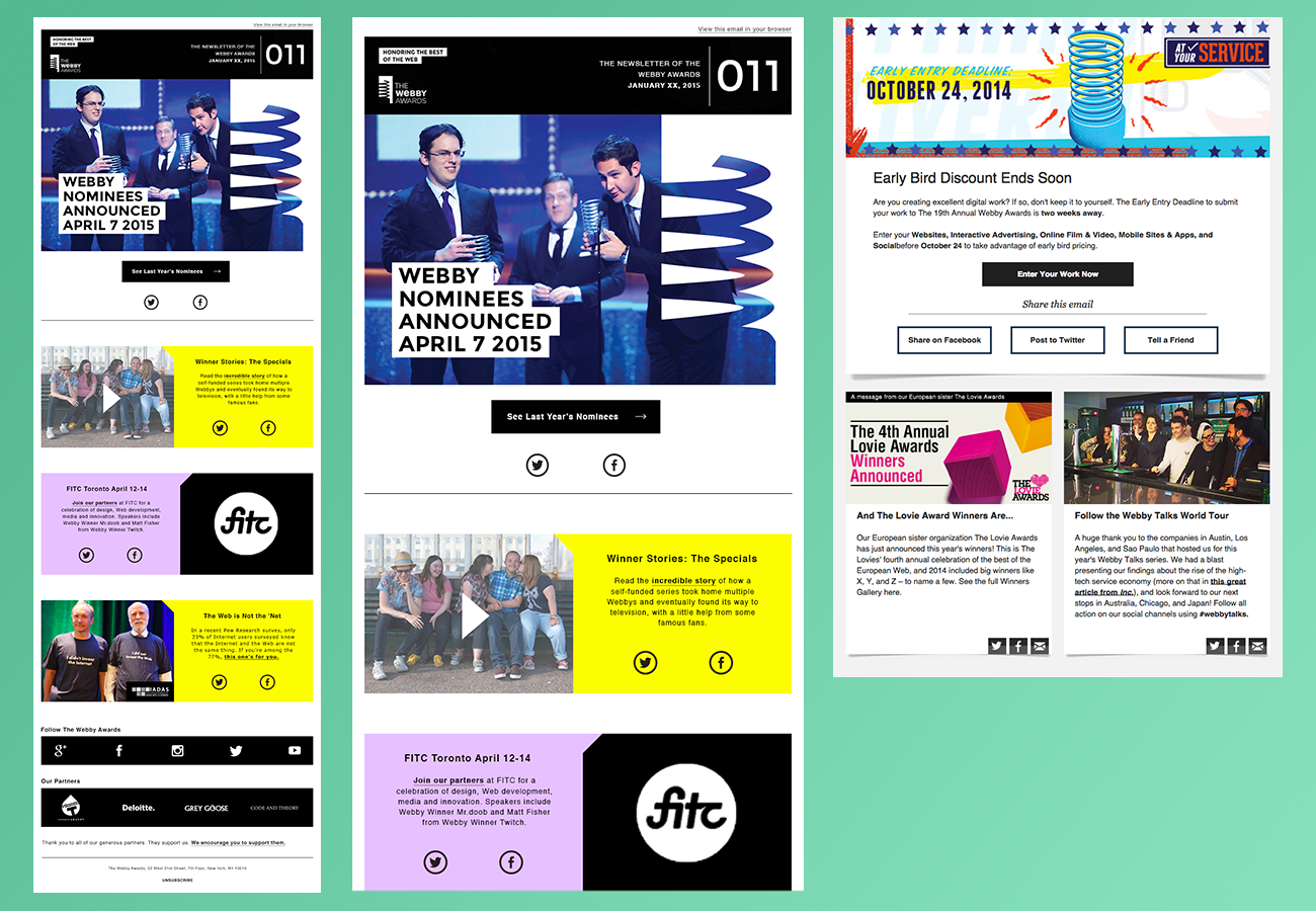 Updated newsletter using the new site style, old design on the right.
