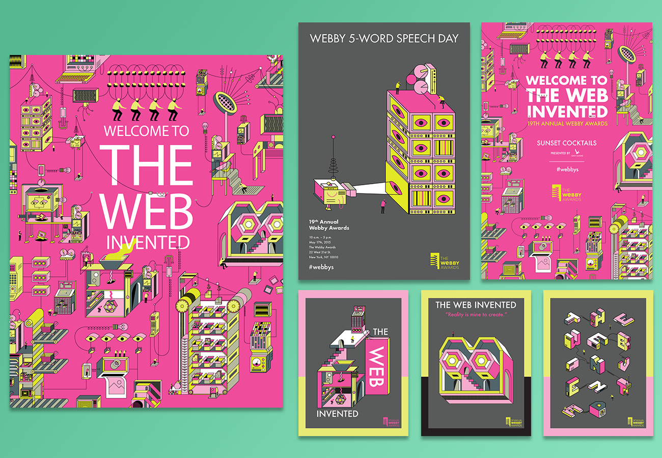 """Working with  CP+B  & The Royals/ Degrau  we created a campaign for the show focused on our theme """"Welcome to the Web Invented."""" The illustrations focused on pillars of the internet (Youtube, Twitter, Instagram, etc) recreated as machines being powered by humans. The bold color palette was accentuated with Pantone ink to make the invitations and posters """"pop"""" in the room. I then took these machines and translated it into all ads, way signage and to the screens of the show."""