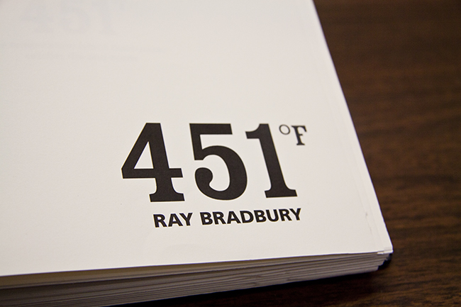 I set out to practice book layout and redesigned and hand bound the classic Fahrenheit 451.