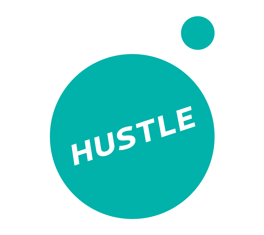 "Hustle - Greenhouse Marketing Team - I created this logo for the internal marketing & sales team for Greenhouse recruiting agency. I used the circle configuration of the 'greenhouse' wordmarks 'g' and integrated the teams motto ""HUSTLE"" into the design."