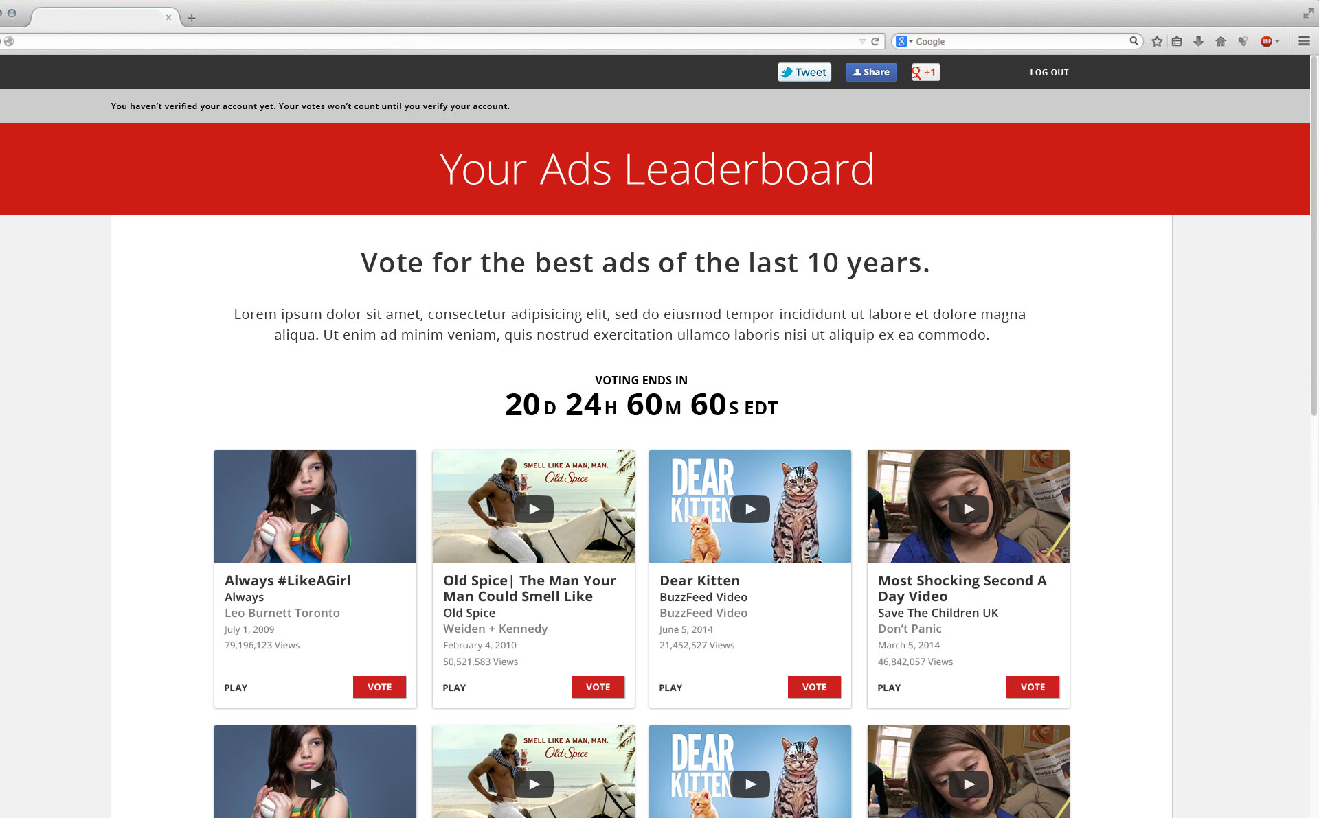YouTube and The Webby Awards worked on creating a voting structure to showcase the most popular Ads watched on YouTube. Working directly with YouTubes brand team I designed a voting site for the Ads of the Year program. The initial year was a major success and we've partnered with YouTube every year since and evolved the look and feel based on changing guidelines. You can see the current version  here.