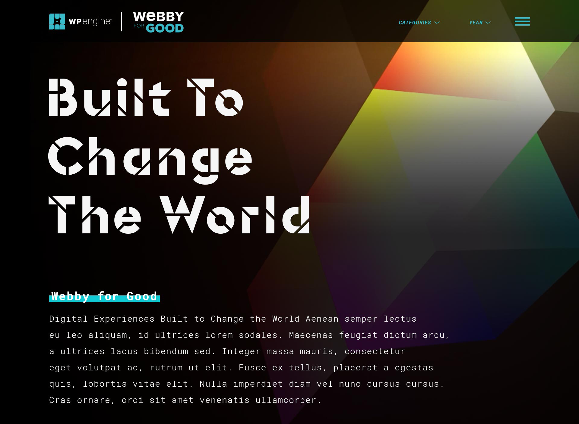 The 2018 initial design of Webby for Good
