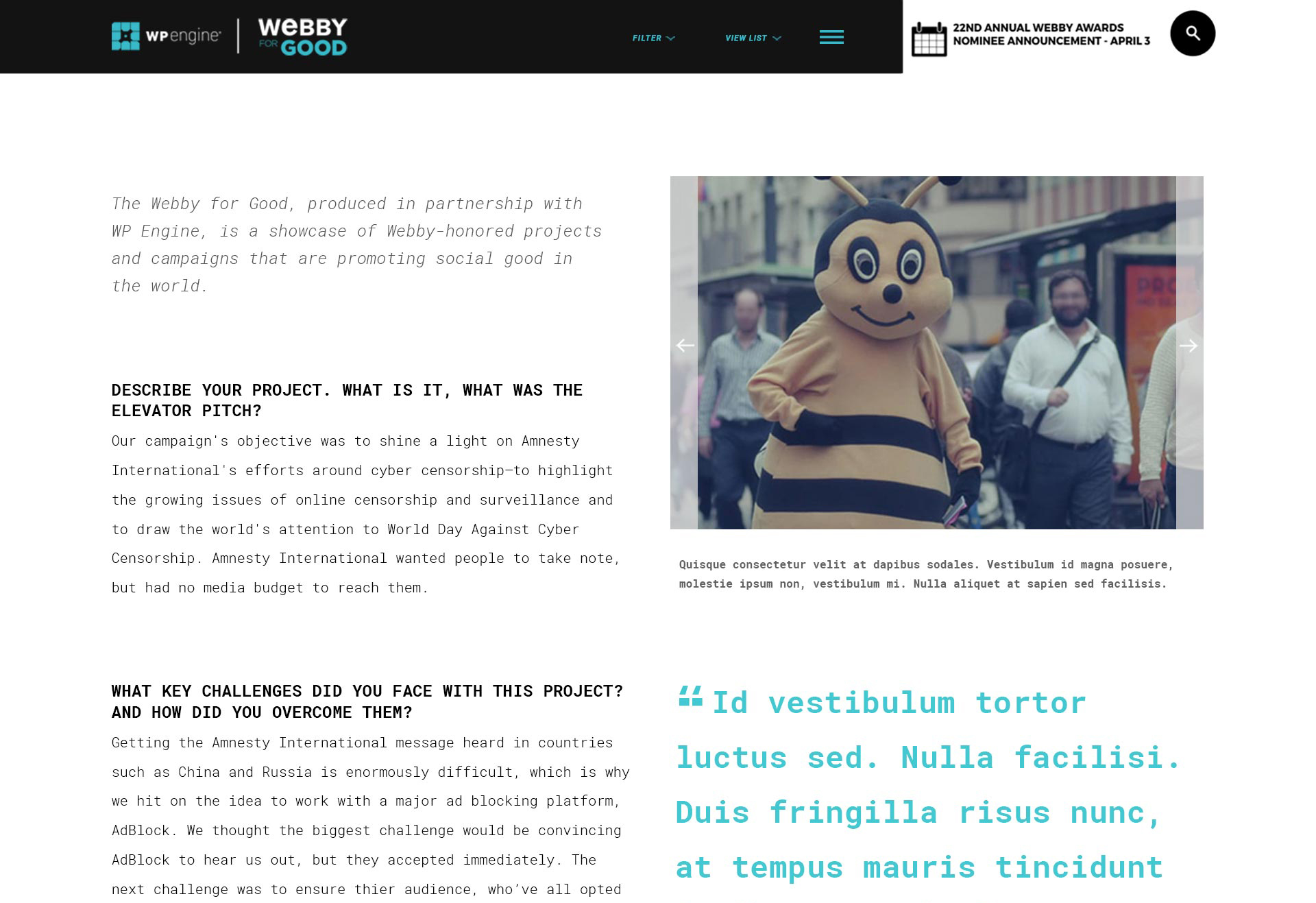 The 2018 initial design of Webby for Good - Interior Page