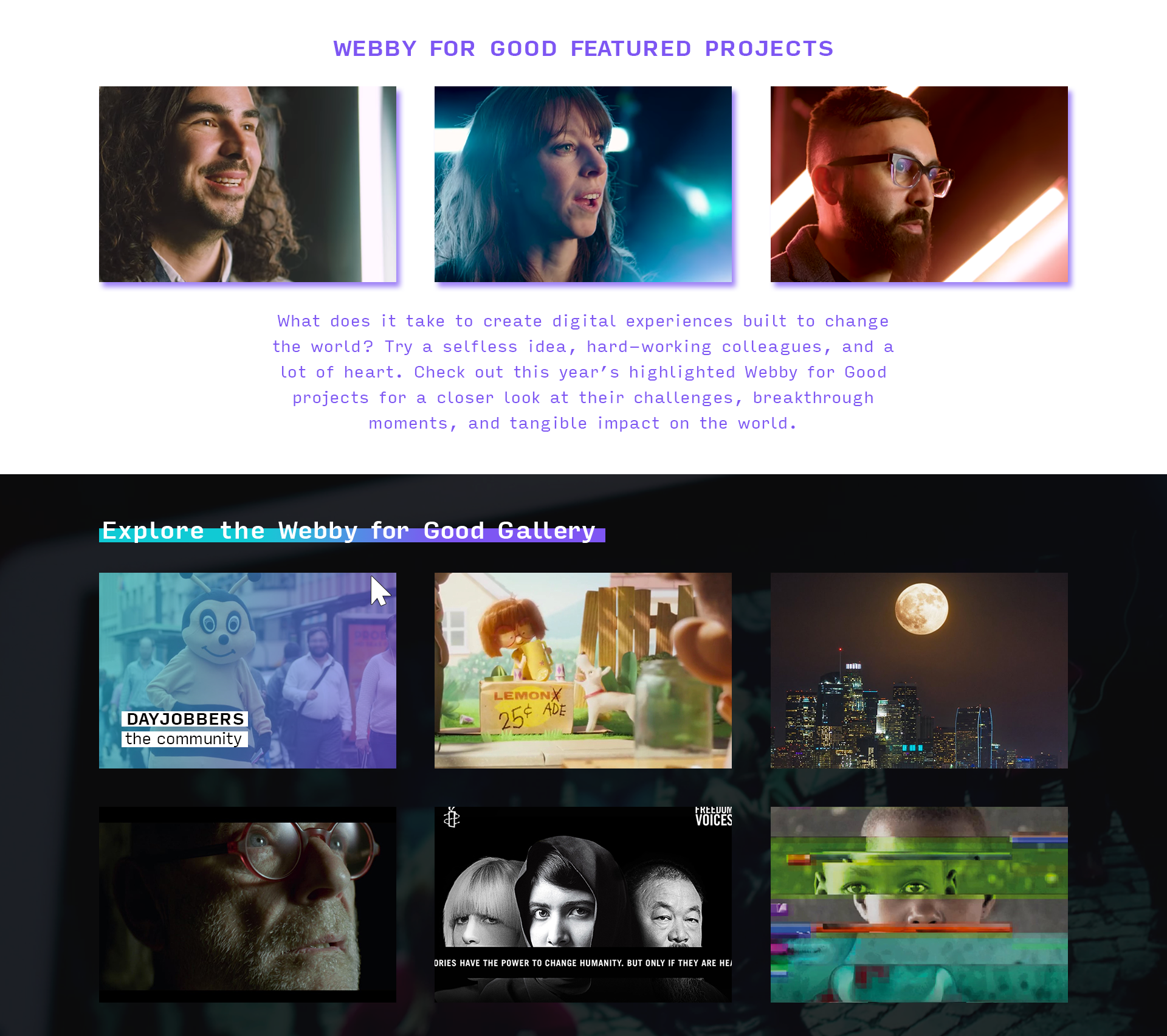 2019 Webby for Good website revamp - Features and gallery